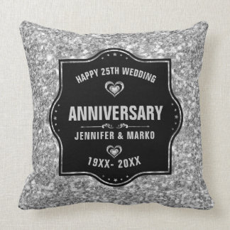 25th Wedding Anniversary Black And Silver Glitter Throw Pillow