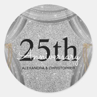 25th Wedding Anniversary Black and Silver Sparkle Classic Round Sticker