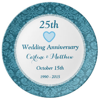 25th Wedding Anniversary Blue Damask and Lace E05C Plate