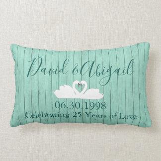 25th Wedding Anniversary Blue Wood theme Lumbar Pillow