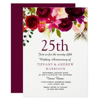 25th Wedding Anniversary Burgundy Flowers Invite