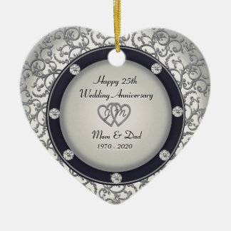 25th Wedding Anniversary Ceramic Heart Ornament