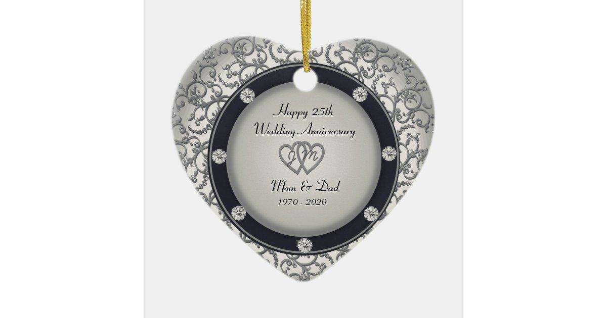 25th Wedding Anniversary Ceramic Heart Ornament Zazzle