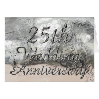25th Wedding Anniversary Chic Silver Typography Card
