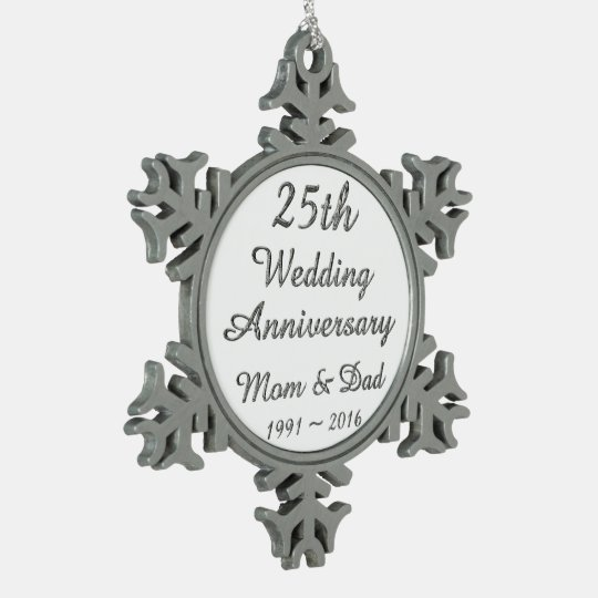 25th Wedding Anniversary Chic Silver Typography Pewter Snowflake Ornament