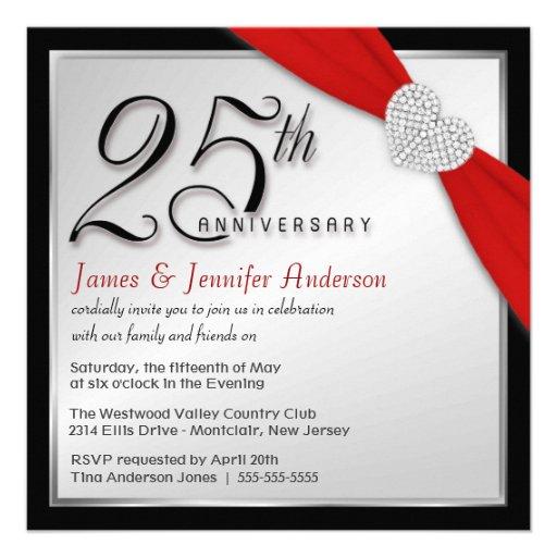 25th Wedding Anniversary Elegant Invitations 5 25 Quot Square Invitation Card Zazzle