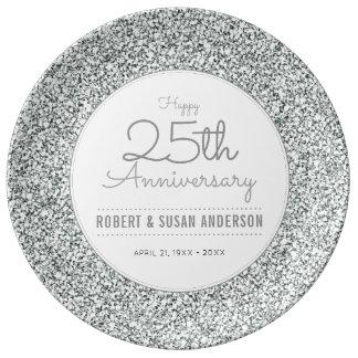 25th Wedding Anniversary Faux Silver Glitter Plate