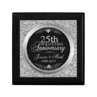25th Wedding Anniversary Glitter & Silver Design Gift Box
