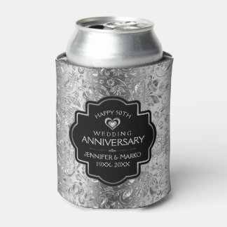 25th Wedding Anniversary & Gold Floral Damasks Can Cooler