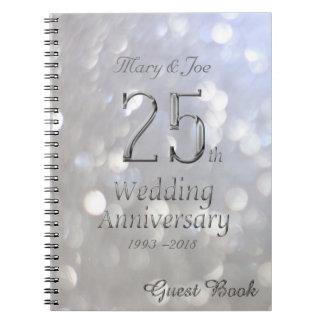 25th Wedding Anniversary Guest Book Silver Grey