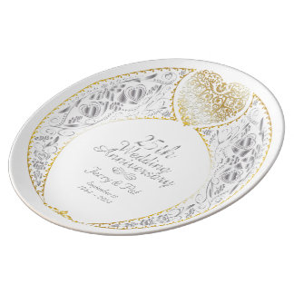 25th Wedding Anniversary Heart Wreath Plate 2
