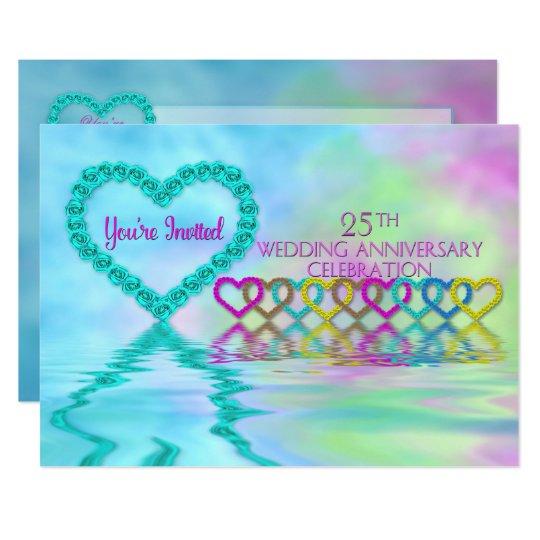 25th Wedding Anniversary Invitation - Roses/Hearts