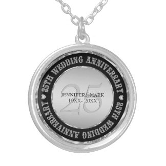 25th Wedding Anniversary Metallic Silver And Black Silver Plated Necklace