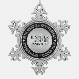 25Th Wedding Anniversary Metallic Silver & Black 2 Pewter Snowflake Ornament