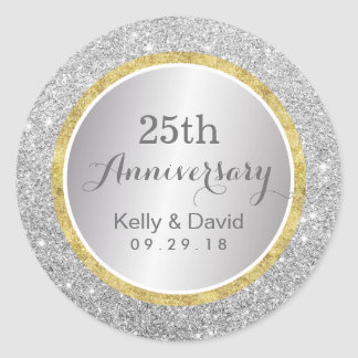 25th Wedding Anniversary Modern Silver Glitter Classic Round Sticker