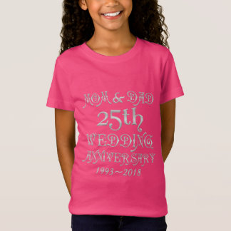25th Wedding Anniversary Parents Silver Typography T-Shirt