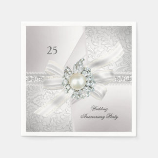 25th Wedding Anniversary Party Pearl White Silver Paper Napkins