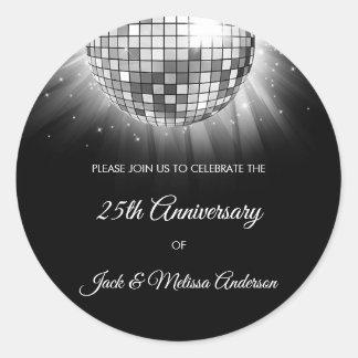 25th Wedding Anniversary Party Silver Disco Ball Classic Round Sticker