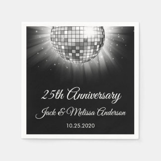 25th Wedding Anniversary Party Silver Disco Ball Paper Napkin