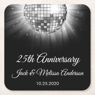 25th Wedding Anniversary Party Silver Disco Ball Square Paper Coaster