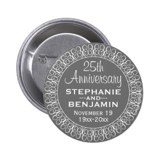 25th Wedding Anniversary Personalized 2 Inch Round Button