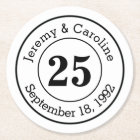 25th Wedding Anniversary Personalized Round Paper Coaster