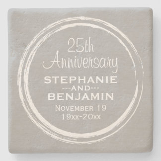 25th Wedding Anniversary Personalized Stone Beverage Coaster