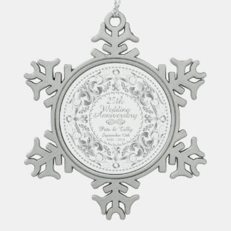 25th Wedding Anniversary-Pewter Snowflake Ornament