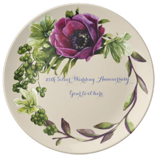 25th Wedding Anniversary Porcelain Plate