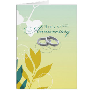 25th Wedding Anniversary Religious Rings on Green Greeting Card