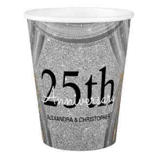 25th Wedding Anniversary Silver and Black Glitter Paper Cup
