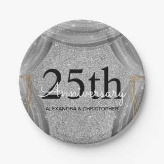 25th Wedding Anniversary Silver and Black Sparkle Paper Plate