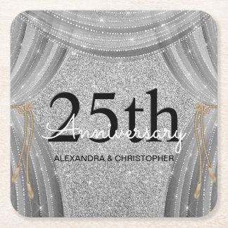 25th Wedding Anniversary Silver and Black Sparkle Square Paper Coaster