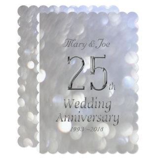 25th Wedding Anniversary Silver Bokeh Typography Card