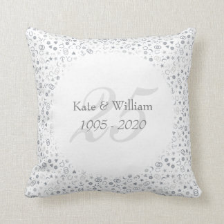 25th Wedding Anniversary Silver Confetti Throw Pillow