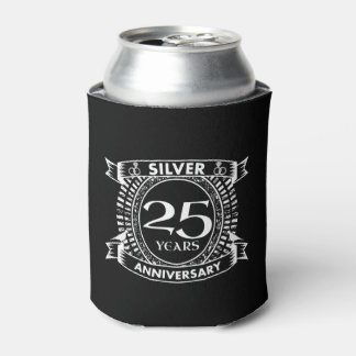 25th wedding anniversary silver crest can cooler