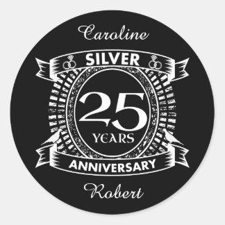 25th wedding anniversary silver crest classic round sticker