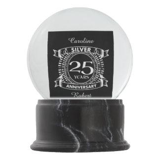 25th wedding anniversary silver crest snow globe