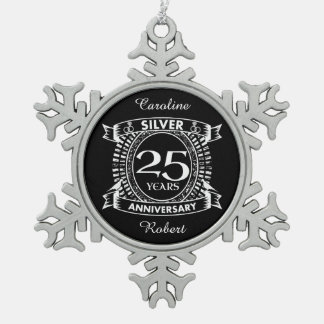 25th wedding anniversary silver crest snowflake pewter christmas ornament