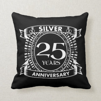 25th wedding anniversary silver crest throw pillow