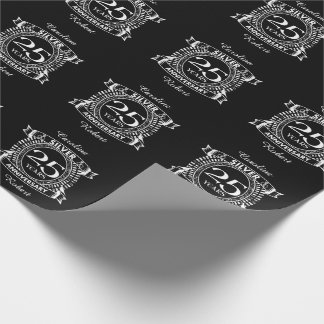 25th wedding anniversary silver crest wrapping paper