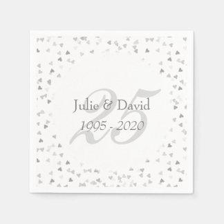 25th Wedding Anniversary Silver Hearts Confetti Paper Napkins
