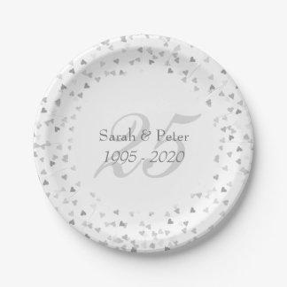 25th Wedding Anniversary Silver Hearts Confetti Paper Plate