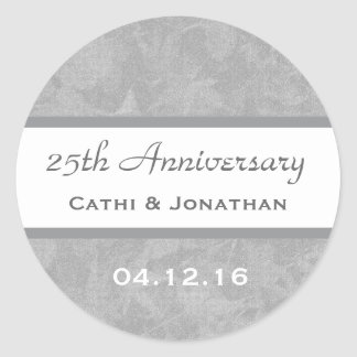 25th Wedding Anniversary Silver Muted Leaves A05 Classic Round Sticker