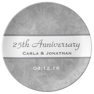 25th Wedding Anniversary Silver Muted Leaves B01 Plate