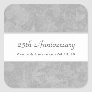25th Wedding Anniversary Silver Muted Leaves V21 Square Sticker