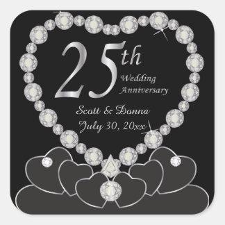 25th Wedding Anniversary - Silver Square Sticker