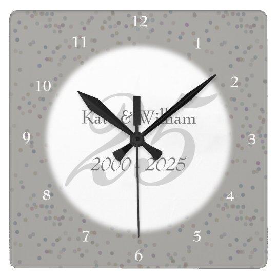 25th Wedding Anniversary Silver Stardust Confetti Square Wall Clock