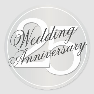 25th Wedding Anniversary Silver Toned Sticker