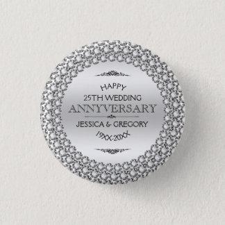 25th Wedding Anniversary Silver & White Diamonds 1 Inch Round Button
